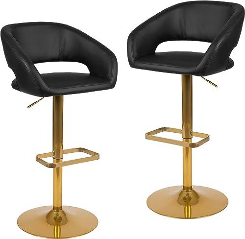 Flash Furniture Contemporary Black Vinyl Adjustable Height Barstool