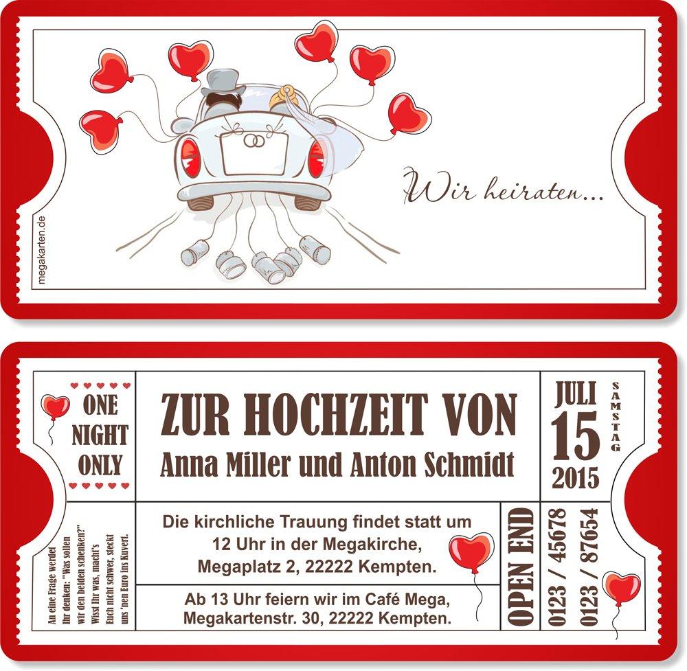 Einladungskarten zur Hochzeit mit Abriss-Coupon, Hochzeitsauto 40 Stück B00WQ3LMJ2 | | | Passend In Der Farbe  22c549