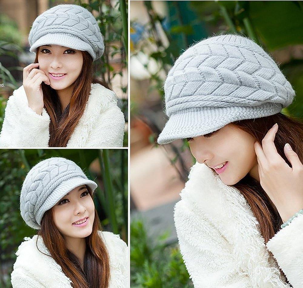c75f04e13f0d9c Glamorstar Winter Knit Hat Stretch Warm Beanie Ski Cap with Visor for Women  Girl Beige at Amazon Women's Clothing store: