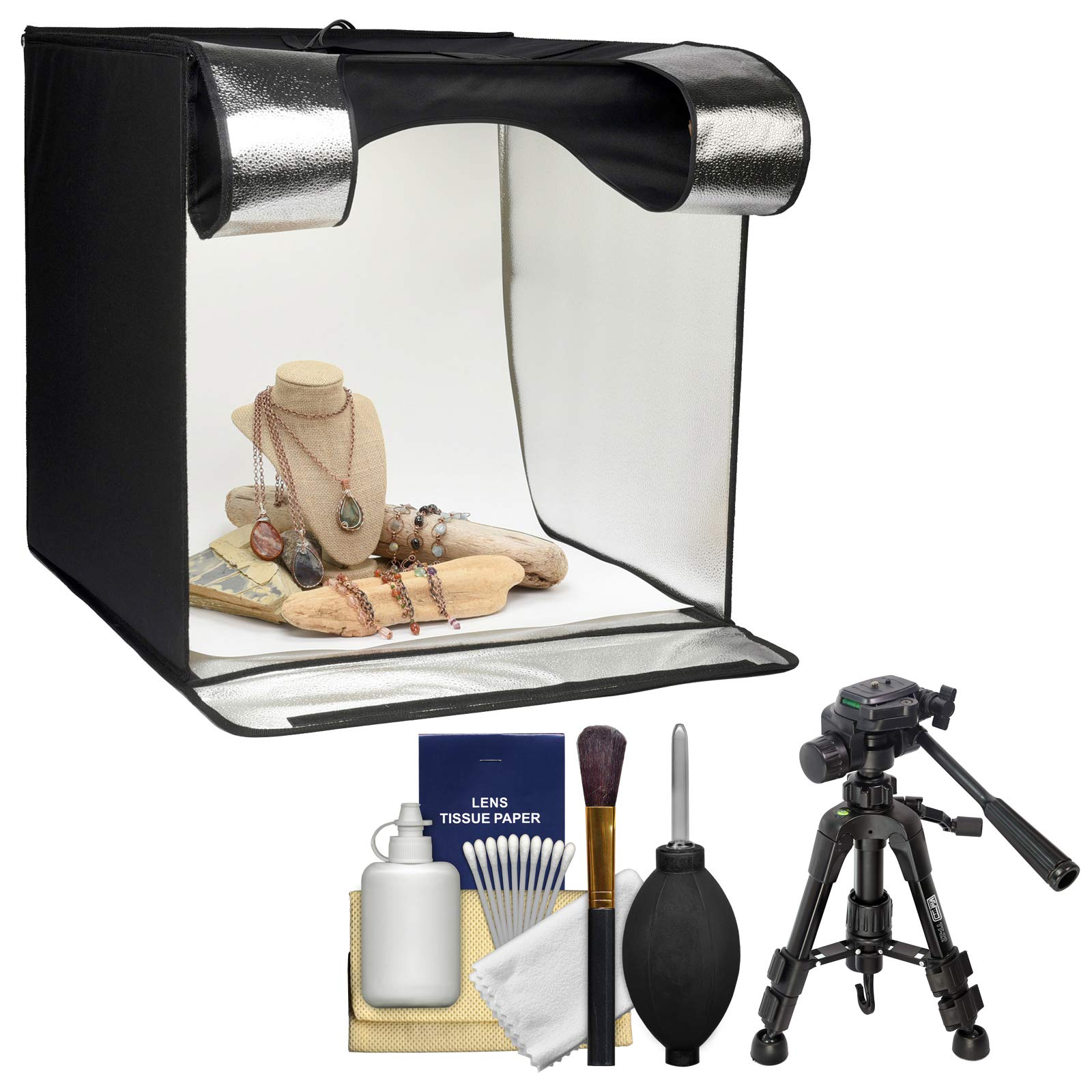 Smith-Victor 15.5'' Desktop LED Light Box Studio Tent with Turntable, 4 Backgrounds & Case with Macro Tripod + Cleaning Kit by Smith-Victor (Image #1)