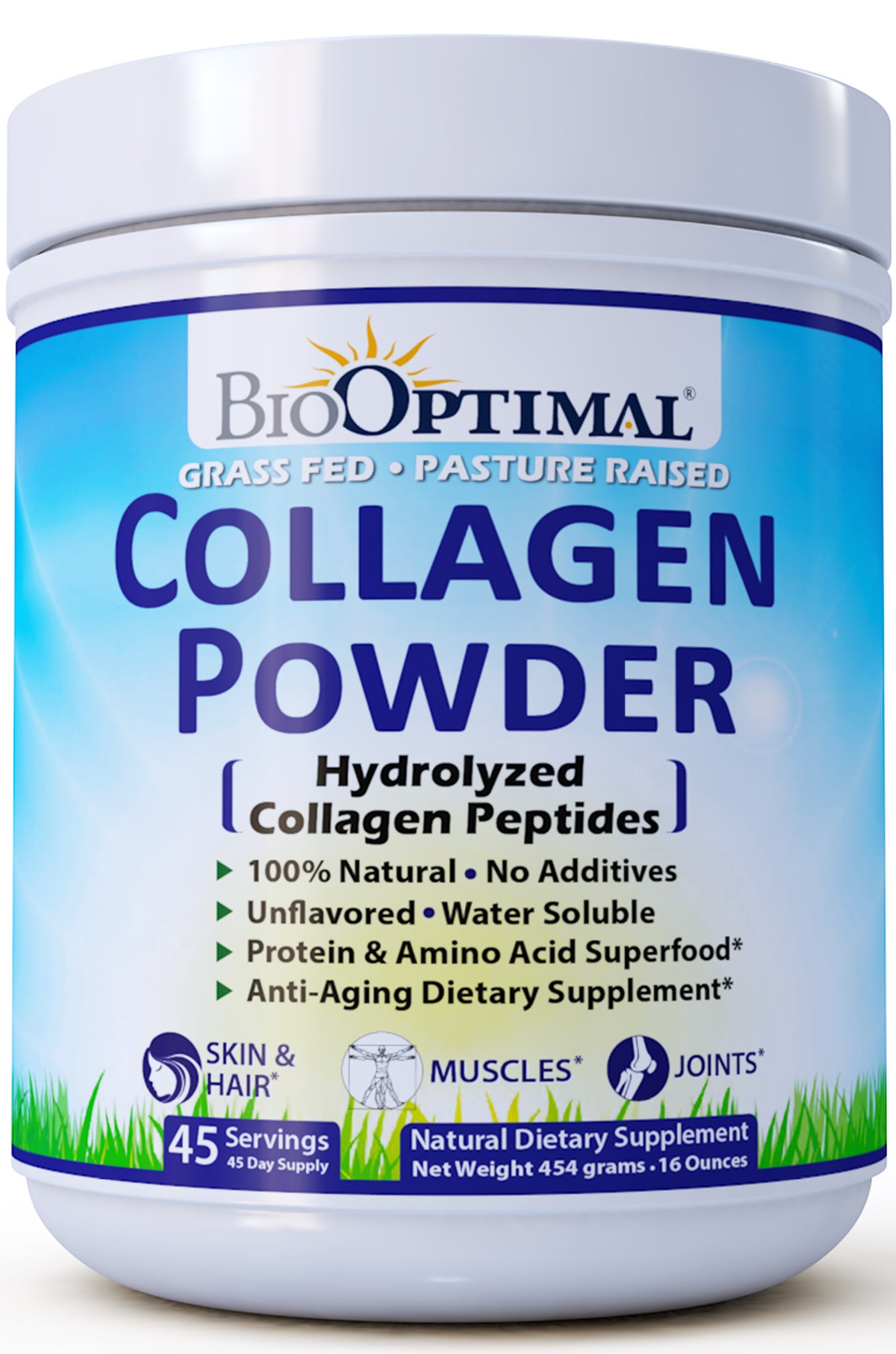 BioOptimal Collagen Peptides, Collagen Powder Grass Fed, Non-GMO Premium Quality Hydrolyzed Collagen Protein, Pasture Raised, Dissolves Easily, 16 Ounces by BioOptimal