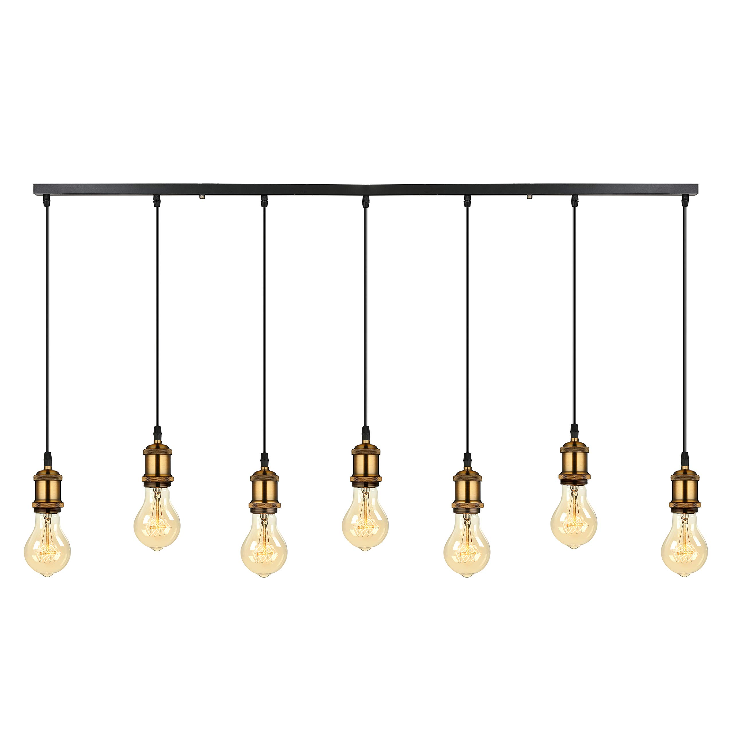 Ladiqi 7 Lights Industrial Pendant Lighting Linear Hanging Ceiling Lights Rustic Kitchen Island Light Fixtures Antique Brass for Dining Table Bar Counter Restaurant
