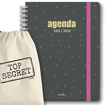 Agenda 2019-2020 semana vista + bolsa algodón (30x21cm) - agenda stamping oro - HappyMots