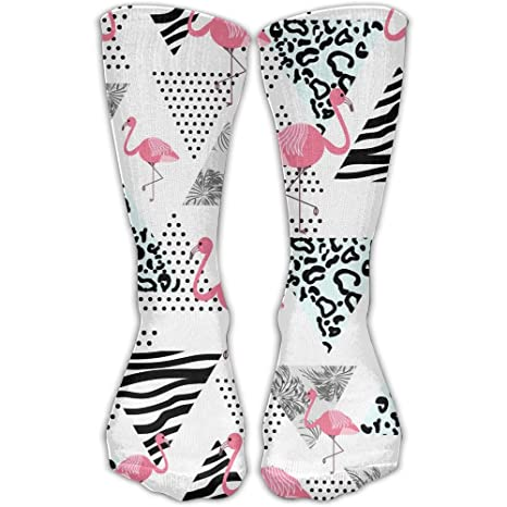 WEEDKEYCAT Palka Dot Zebra Palm Flamingo Aztec Tribal Knee - Calcetines altos para hombre y mujer