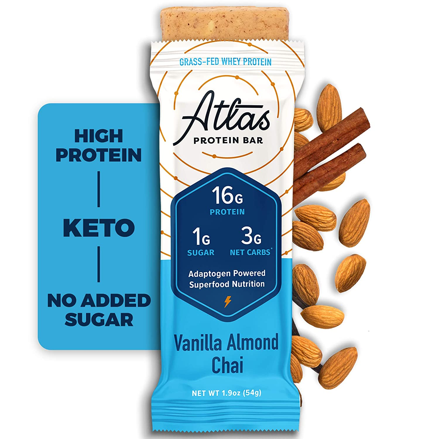 Atlas Protein Bar, Meal Replacement, Keto-Friendly Snack, Grass-Fed Whey, Organic Ashwagandha, Low Sugar, Low Carb, Gluten Free, 10 pack, Vanilla Almond Chai