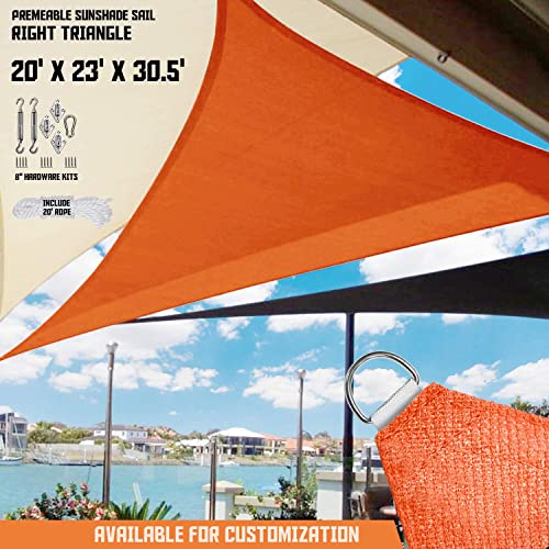 TANG Sunshades Depot 20 x23 x30.5 Orange Sun Shade Sail 180 GSM with 8 in Hardware Kit Right Triangle UV Block Outdoor Canopy Patio Garden Yard Pergola Kindergarten Playground Custom