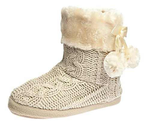 Womens Footwear Boot Slippers Bootie Printed & Plain Knitted Pom Poms