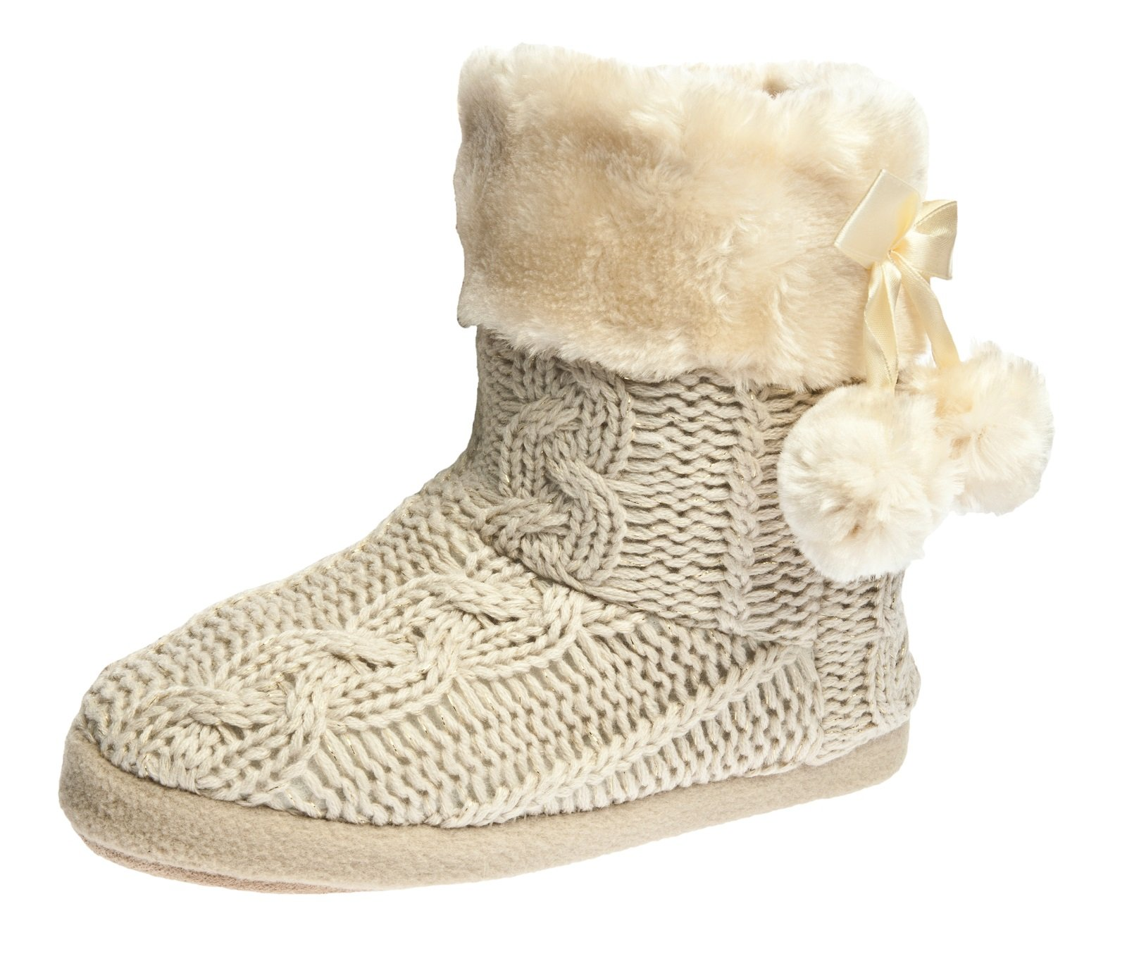 Airee Fairee Slippers Booties for Women Ladies Girls Slipper Boot Bootie Faux Fur Lined with Pom Poms (Medium US 7-8, Beige 2)