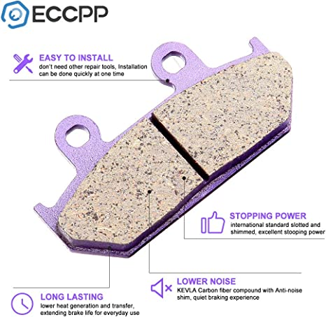 ECCPP FA124//2 Brake Pads Front Rear Carbon Fiber Replacement Brake Pads Kits Fit for 1990-2000 Honda Goldwing 1500 GL1500A Aspencade//GL1500SE,1991-1996 Honda Goldwing 1500 GL1500I Interstate