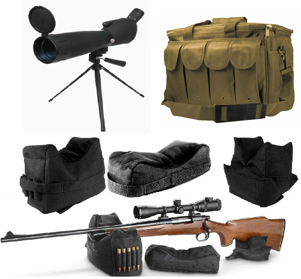 25-75x75 Sniper Spotter Hunting Rubber Armored Spotting Scope + Tripod + Sunshade + QD Shooting Rifle Shotgun & Muzzle Loader Steady Shooter Support Bag Set + Tan Range Bag with Magazine Ammo Pouches