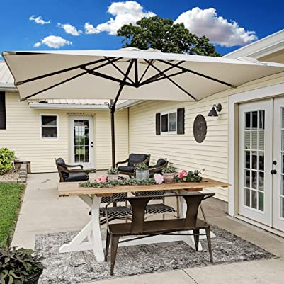 Abba Patio Rectangular Offset Cantilever Outdoor Patio Hanging Umbrella with Cross Base, 8 x 10-Feet, Sand