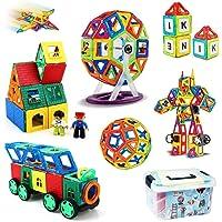 iKing マグネットブロック 162PCS 磁気おもちゃ 子供 誕生日プレゼント 観覧車 ロボット 収納ケース付き