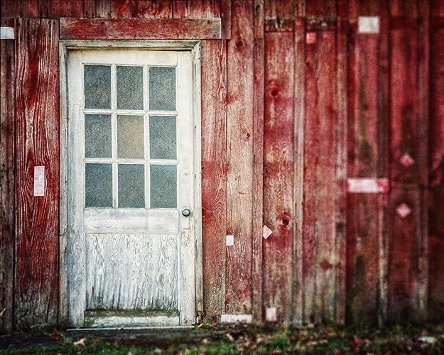Amazon Com Rustic Red Country Farmhouse White Barn Door Photograph