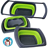 Over-the-Sink Collapsible Colander, Food-Grade-Silicone kitchen Strainer with Extendable Handles ,Space-Saver,Folding Strainer for Kitchen,6-quart Capacity, Dishwasher-Safe,BPA Free (Green&Grey)