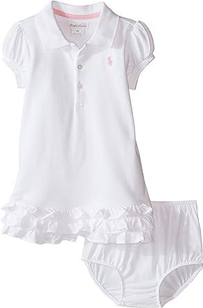 871592448e77 Amazon.com  Ralph Lauren Baby Girls 2 Piece Ruffle Polo Dress w Diaper  cover White  Clothing