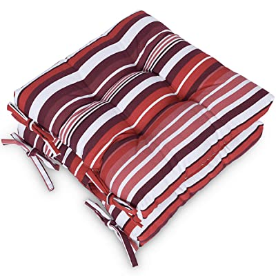 Shinnwa Red Chair Pads and Cushions for Kitchen Chairs with Ties [16x16 Inches] Outdoor Patio Furniture Seat Cushions for Chairs Pad Set of 2 - Canvas Red Stripes Pattern: Posters & Prints