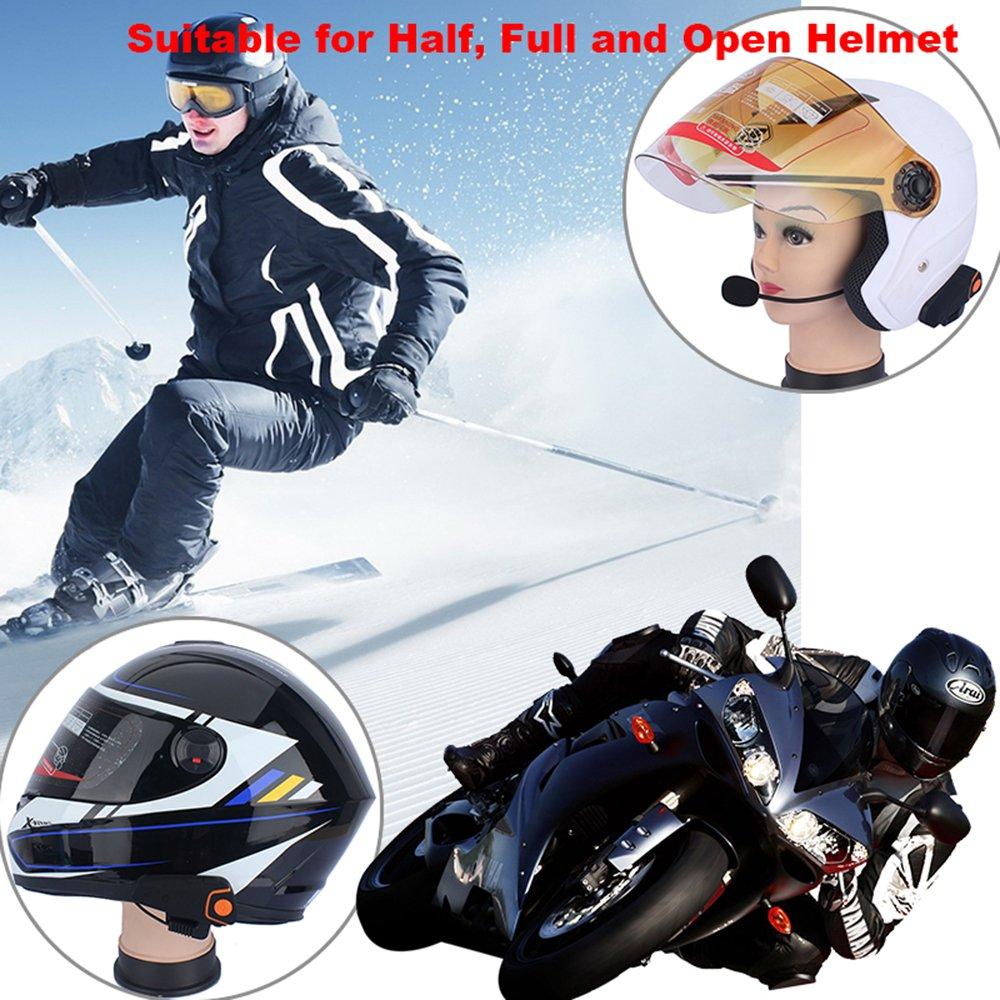 Distancia de intercomunicaci/ón de hasta 1000m Casco Sistemas de comunicaci/ón Fodsports BT-S2 Intercomunicador de Motocicleta Auriculares Bluetooth Interfaz de Motocicleta