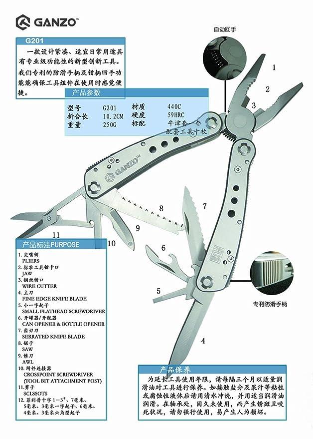 Ganzo G202B - Navaja militar multiusos, alicates con juegos de herramientas para pesca: Amazon.es: Deportes y aire libre