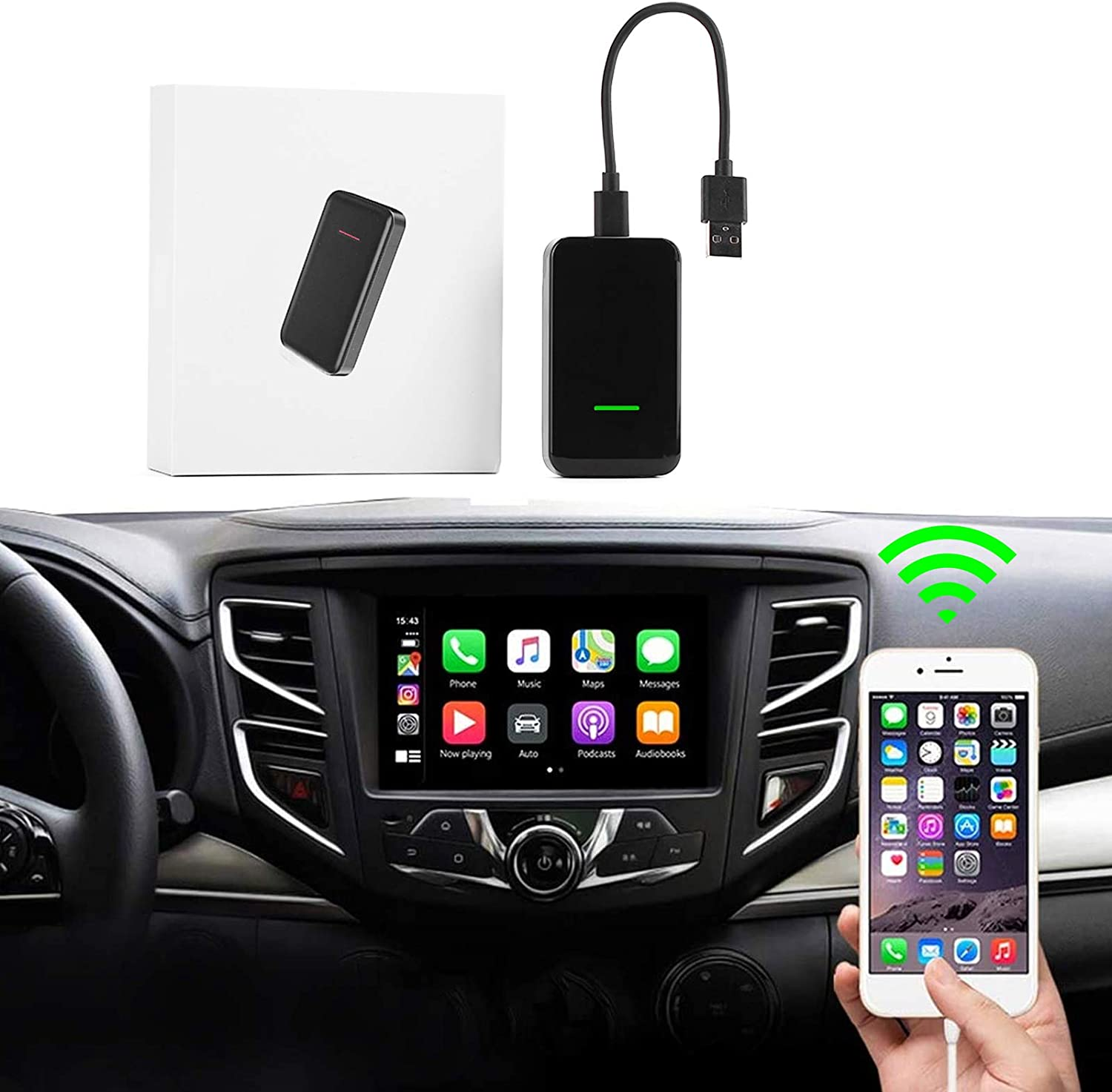 Wireless CarPlay Adapter Factory Wired CarPlay Cars Smartphone Link Receiver for iPhone, Wireless CarPlay Dongle for Audi/Porsche/Volvo/Volkswagen Equip with Wired CarPlay (USB Interface)
