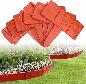 ARISKEY Garden Lawn Edging, 20 Pack Landscape Border Flexible Interlocking Edging Plastic Palisade Fence DIY Decorative Flower Bed & Grass Garden Border- Red