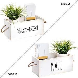 MAINEVENT Rustic Mail Organizer - Decorative Wooden Mail Holder, Mail Organizer Countertop Storage Box, Office Desk Organizer, Rustic Farmhouse Decor for The Home (White)