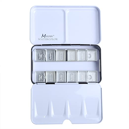 MEEDEN Empty Watercolor Tins Palette Paint Case Metal Box with 12 Transparent Half Pans