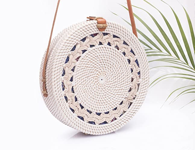 Amazon.com  Big White Round Straw Bag - Stunning Round Rattan Bag To Wear  With Any Outfit  Handmade 3a18131f0cff8
