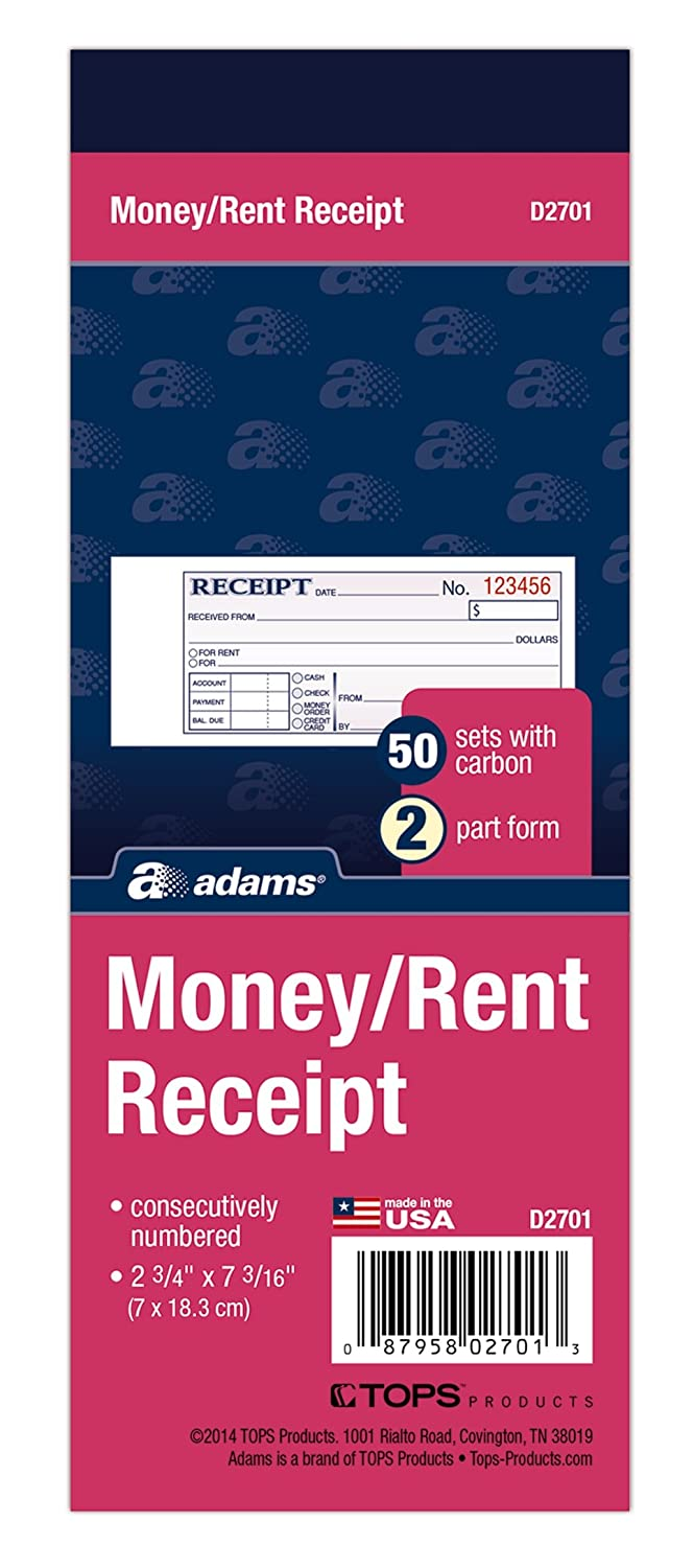 Adams Money and Rent Receipt Book, 2.75 x 7.19 Inches, with Carbon, White and Canary, 50 Sets (D2701) TOPS Business Forms Inc.
