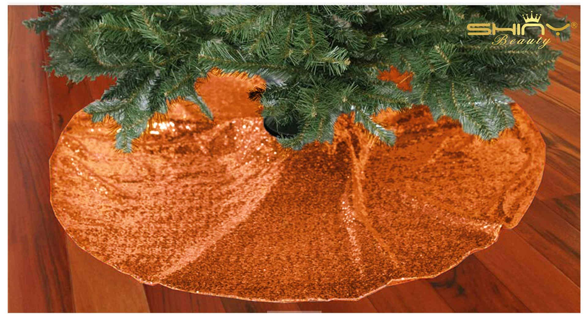 ShinyBeauty 48-Inch Embroidery Sequin Christmas Tree Skirt, Orange