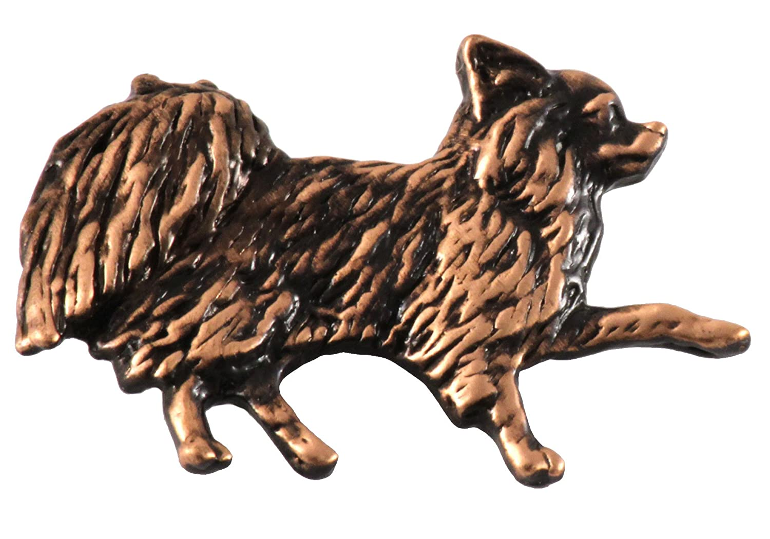 Long Haired Chihuahua Dog Pewter Lapel Pin, Brooch, Jewelry, D350F