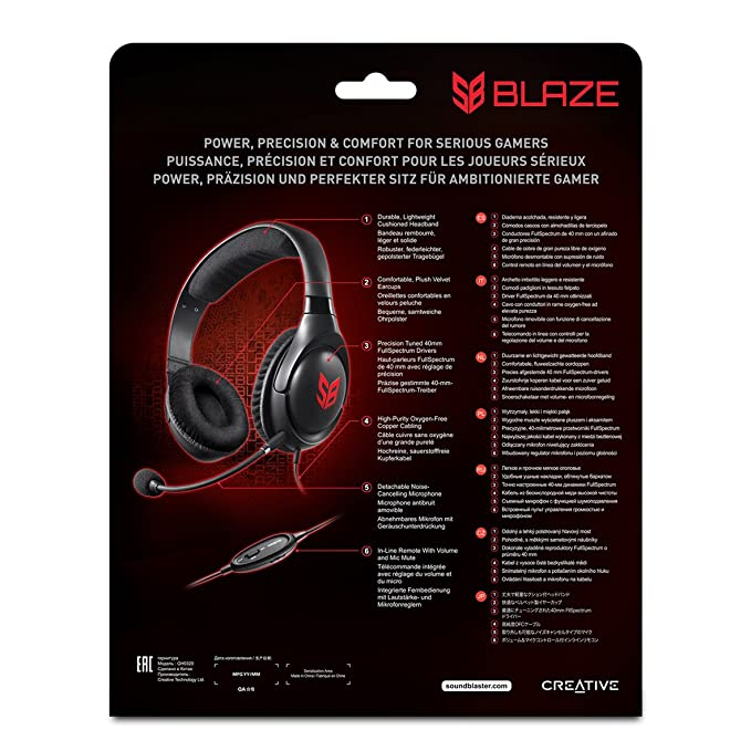 56f5e3f0791 Amazon.com: Creative 70GH032000000 Sound Blaster Blaze Gaming Headset with  Detachable Noise-Cancelling Mic and in-line Remote: Computers & Accessories