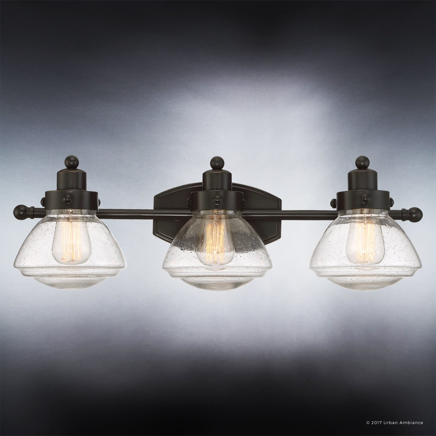 Luxury Transitional Bathroom Vanity Light, Medium Size: 8''H x 25''W, with Rustic Style Elements, Oil Rubbed Parisian Bronze Finish and Seeded Schoolhouse Glass, UQL2652 by Urban Ambiance by Urban Ambiance (Image #4)