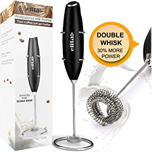 Elita Milk Frother Handheld Double Layer of Whisk High Powered Foam Maker for Lattes-Electric Whisk Drink Mixer for Coffee, Mini Blender and Foamer Perfect for Cappuccino,Frappe,Matcha,Hot Chocolate