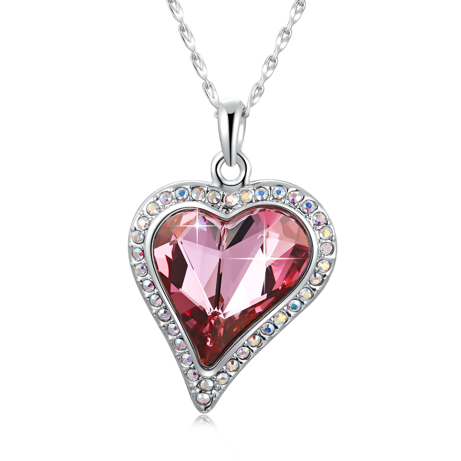 "SUE'S SECRET Forever Love to Your Heart Jewelry Pendant Necklace with Swarovski Crystal, 18"", Rose Red"