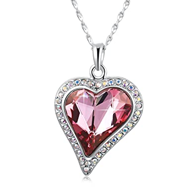 attractive designs super cheap san francisco Swarovski Element Crystal Heart Shaped Necklace Love Heart Shape Pendant  Necklace Fashion Jewelry Necklace with Swarovski Crystal, Rose Red Heart ...