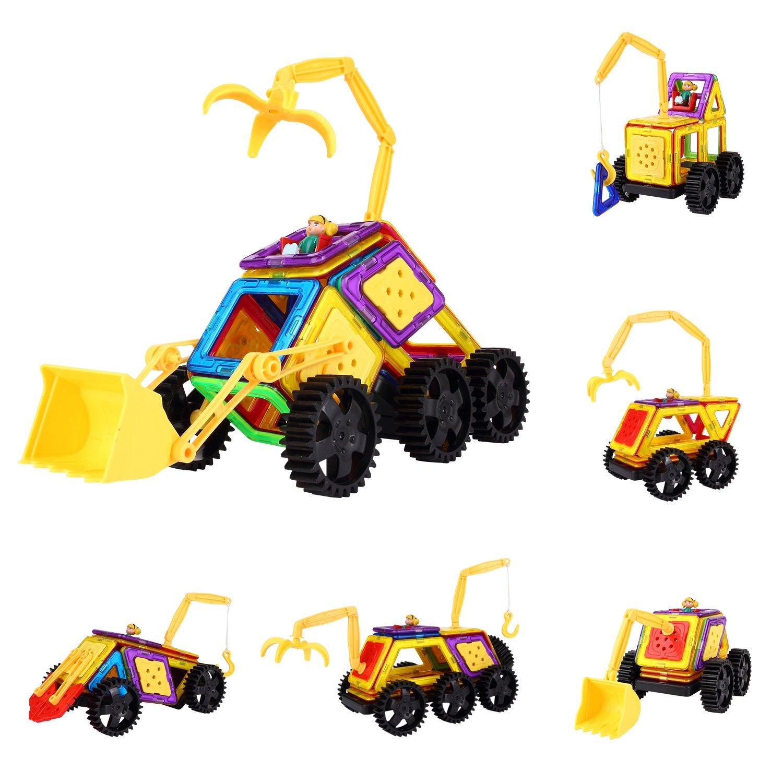 Kinslent Magnetic Building Blocks 56 Pcs Construction Vehicle Set, Preschool Learning Educational Construction Toys Review