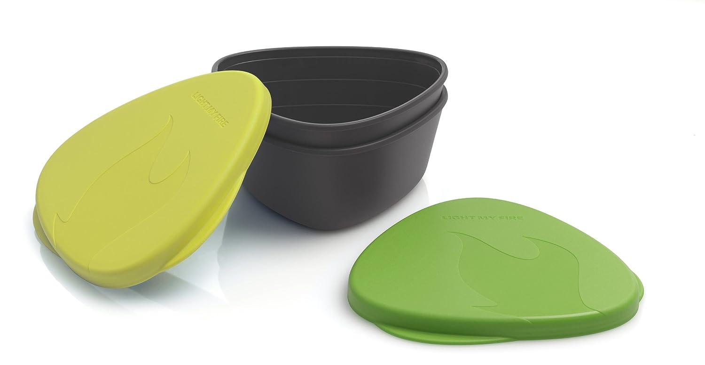 Light My Fire BPA-Free Waterproof Snap Box for Food Storage - Set of 2 Orange/Black Industrial Revolution S-SNAP-TRI Org/Blk