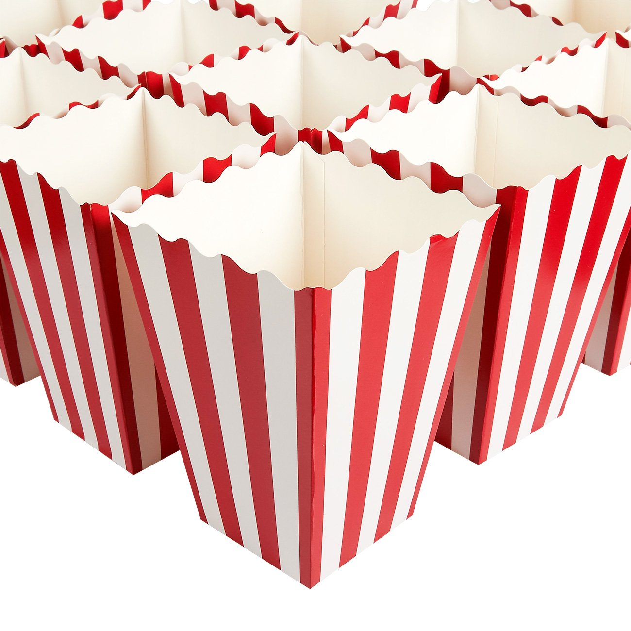Set of 100 Popcorn Favor Boxes - Paper Popcorn Containers, Popcorn Party Supplies for Movie Nights, Movie-Themed Parties, Carnival Parties, Pirate Party, Red and White - 3.7 x 7.8 x 3.7 Inches by Blue Panda