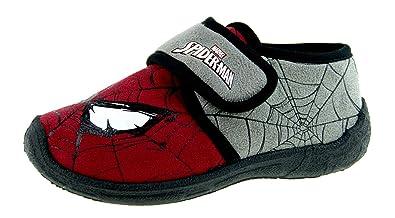 b0318d5b44b9 Marvel Spiderman Hook   Loop Slippers Grey  Amazon.co.uk  Shoes   Bags