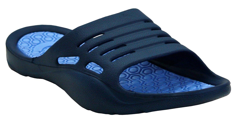 A&H Footwear Womens Ladies Lightweight Slip On EVA Peep Toe Girls Summer Beach Pool Sliders Flip Flops Casual Mules Sandals Shoes UK Sizes 3-8 (UK 3/EU 36, Navy/Blue)
