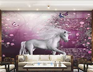 Art DIY Wall Murals,Unicorn in Rose Garden Summer Flying Butterflies Romance Fairy Tail Themed Art Decor Peel and Stick Self-Adhesive Wallpaper for Office Bedroom School Family Wall Decals,77