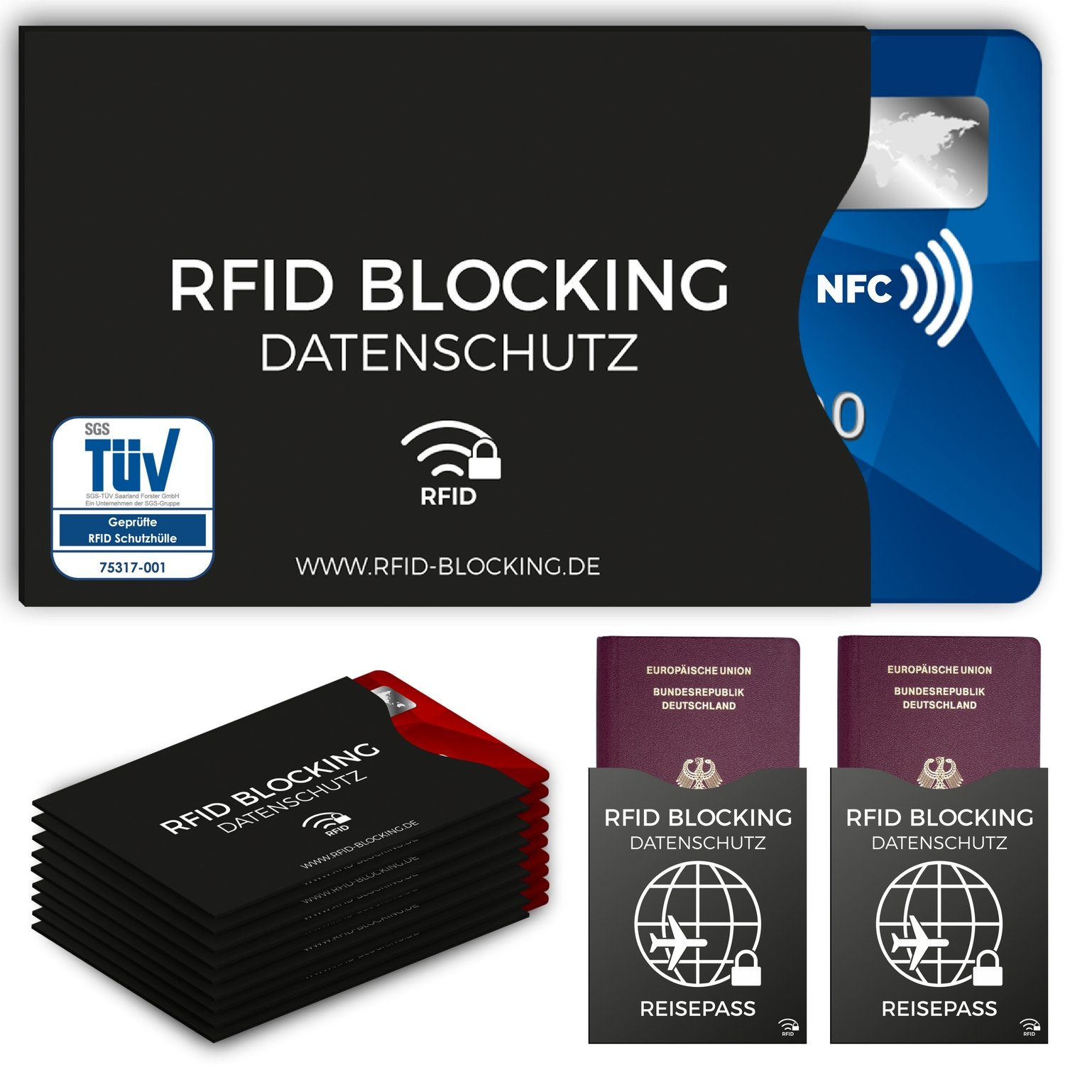 RFID Blocking NFC protection sleeve (12 pieces) for credit card, identity card, bank card, EU passport - 100% Protection for credit-cards against data skimming KB-RB-300C