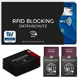 TÜV geprüfte RFID Blocking NFC Schutzhüllen (12 Stück) für Kreditkarte, Personalausweis, EC-Karte, Reisepass, Bankkarte, Ausweis - 100% Schutz gegen unerlaubtes Auslesen - Kreditkarten RFID Blocker