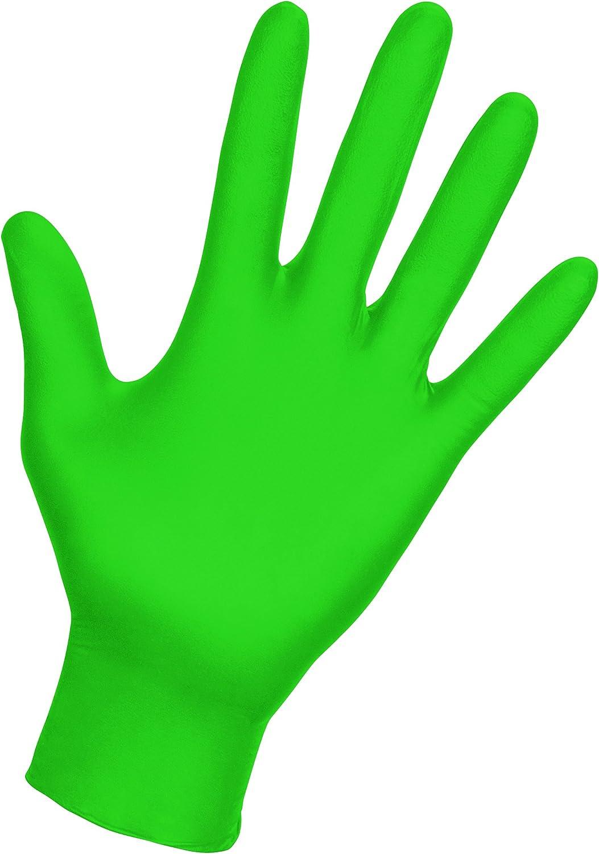 SAS Safety 66554 Derma-VUE Powder-Free Exam Grade 6 Mil Nitrile Gloves, 2X-Large, Neon Green