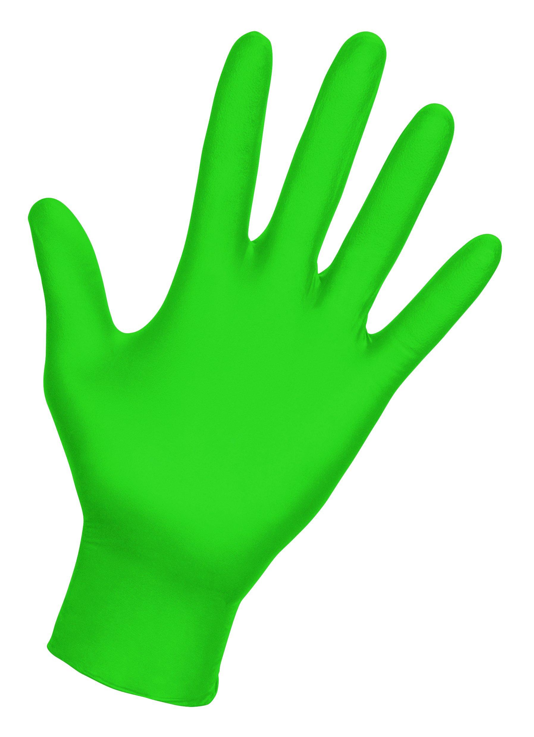 SAS Safety 66552 Derma-VUE Powder-Free Exam Grade 6 Mil Nitrile Gloves, Large, Neon Green