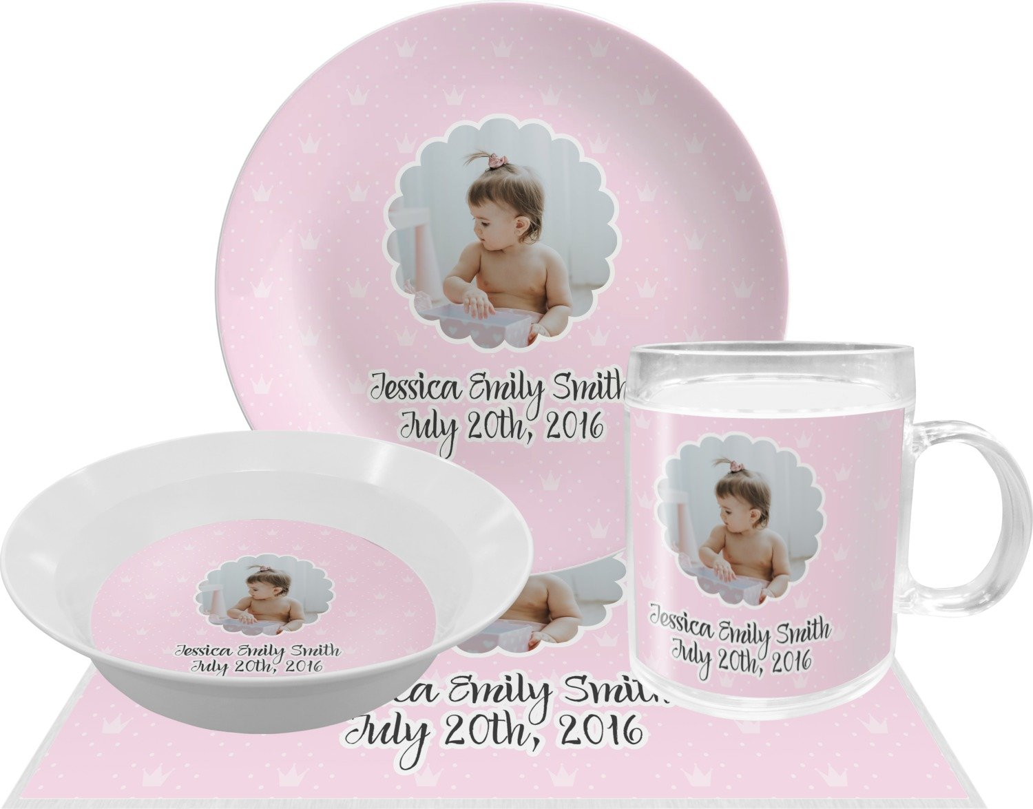 Baby Girl Photo Dinner Set - 4 Pc (Personalized)