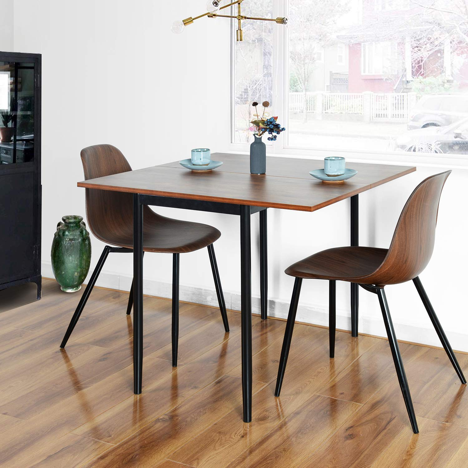 HOMY CASA Wooden Adjustable Dining Tabletop with Metal Base, Multifunctional Rectangular Squared Kitchen Table & Dual Purpose Saving Space (Walnut)