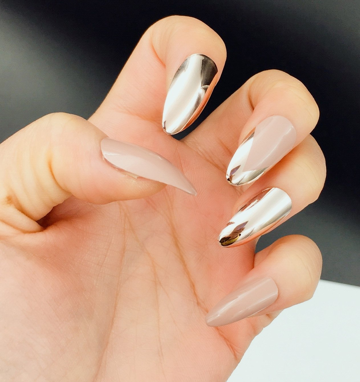 Amazon.com : YUNAI Rose Gold Almond Fake Nails Three Desinged False Nail Tips set Medium/Long Artificial Nails for Women : Beauty
