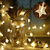 LIVEHITOP 6M 40 LED Star Fairy Light String, Stars Rope Lighting for Bedroom Children's Day Birthday Party Wedding Festival Gifts, Battery Powered, Warm White