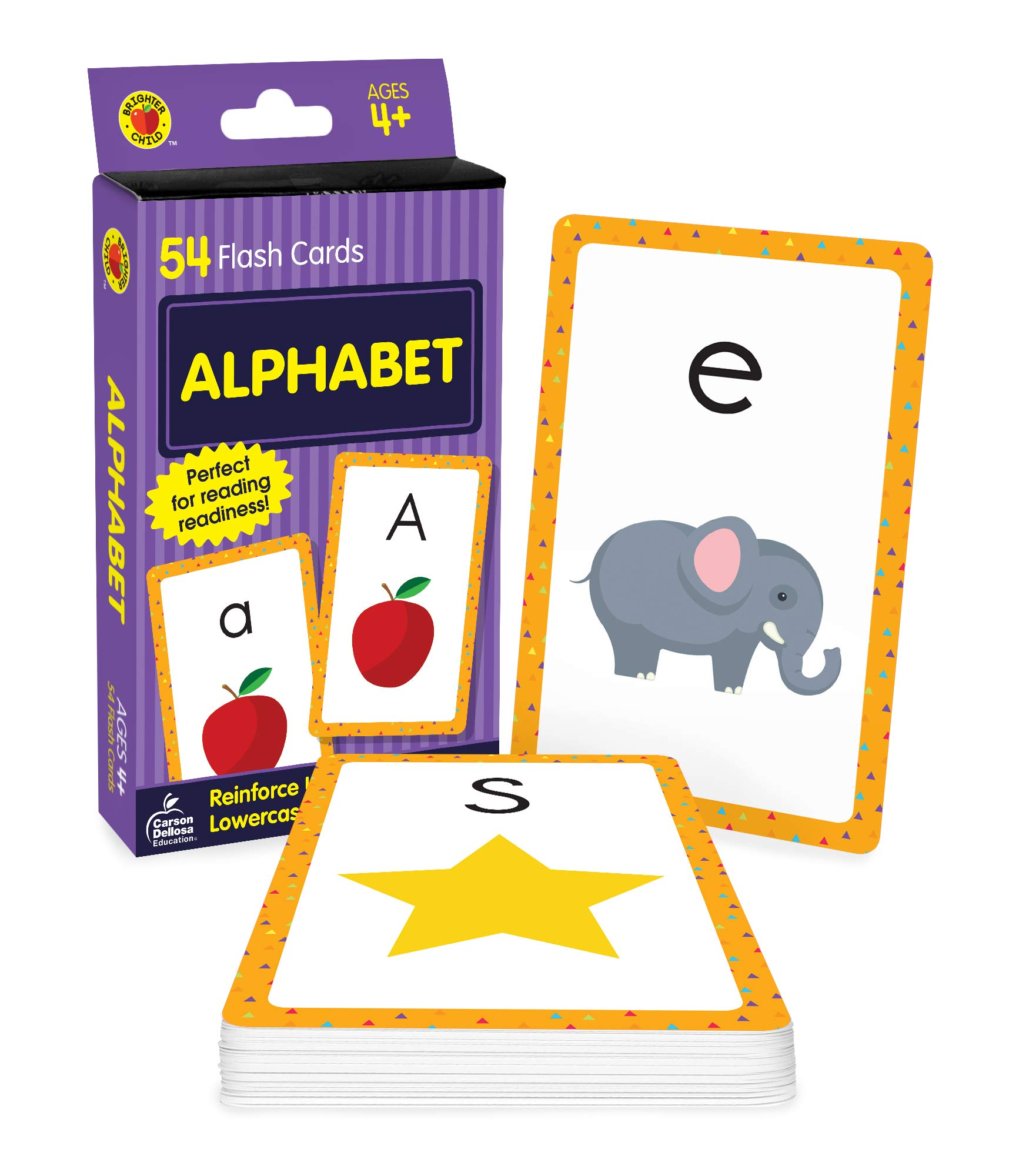Carson Dellosa Alphabet Flash Cards—Double-Sided, Uppercase and Lowercase Letter and Sound Recognition With Illustrations, Early Reading Comprehension Practice Set (54 laptop)